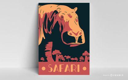 Diseño de póster de hipopótamo Safari