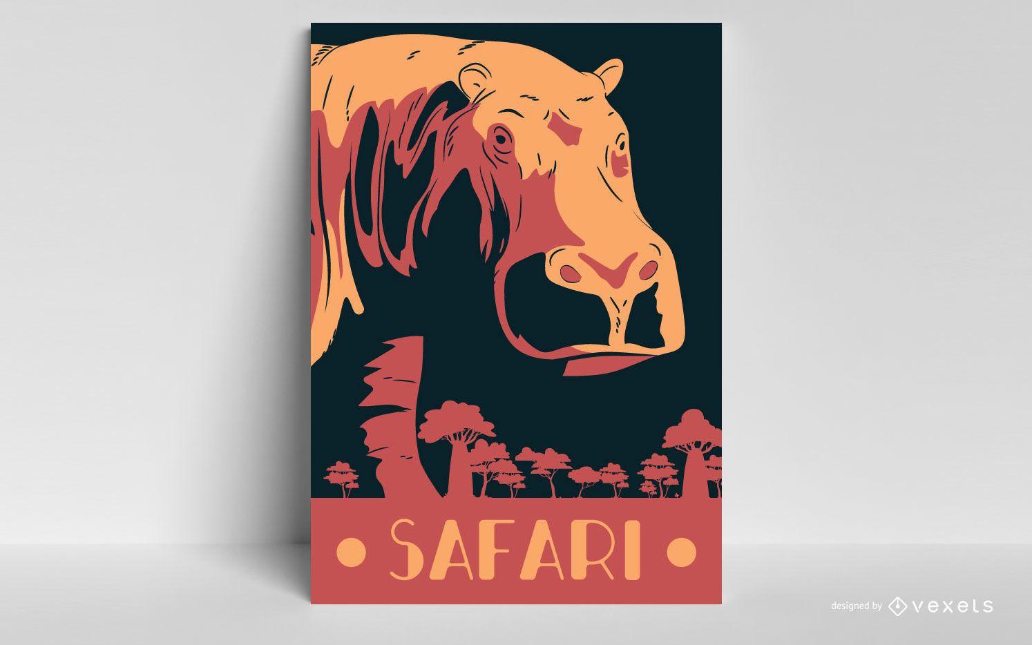 Design de pôster Safari hipopotamus