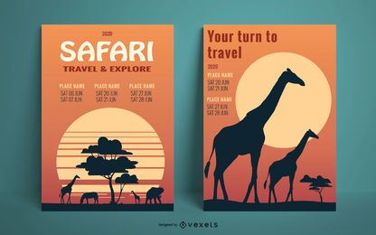 Safari sunset poster template