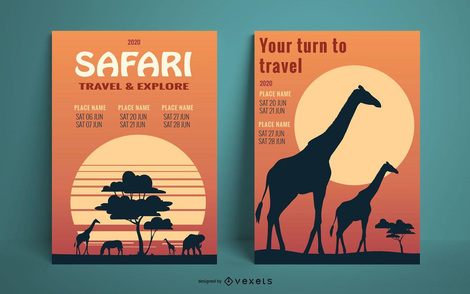 Modelo de pôster do pôr do sol do Safari