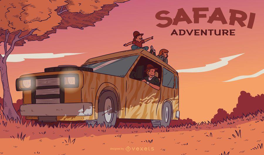 Ilustración de puesta de sol de aventura de safari