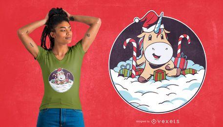 Design de t-shirt de neve de unicórnio de Papai Noel