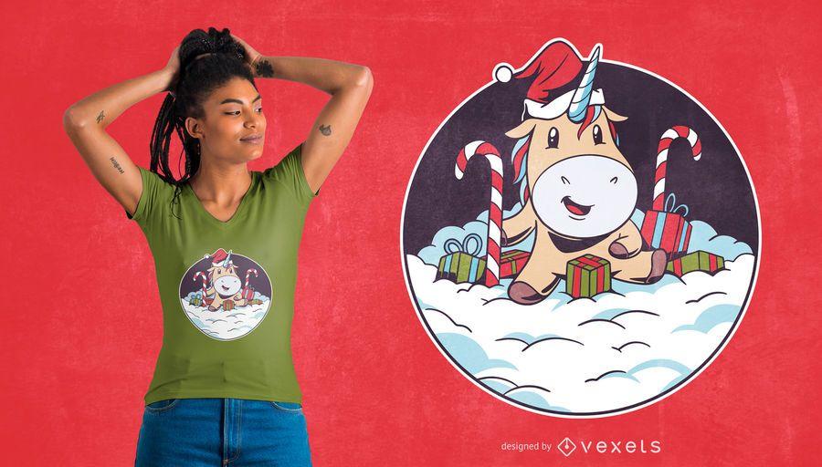 Santa Einhorn Schnee T-Shirt Design