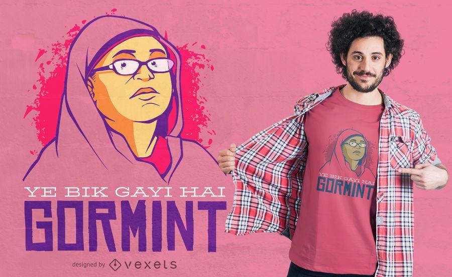 Design de t-shirt de mulheres paquistanesas Meme Quote