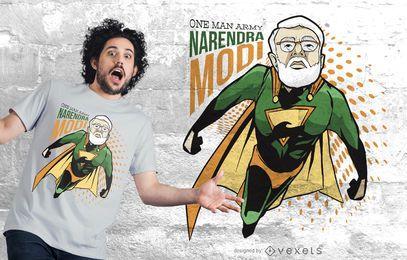 Narendra modi design de t-shirt de super-herói