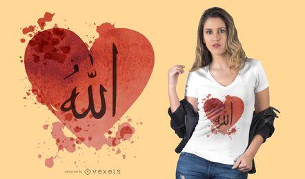Diseño de camiseta de corazón árabe