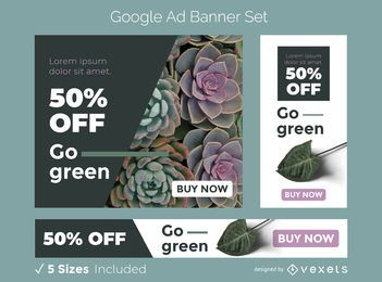 Ir conjunto de banner de anúncio verde