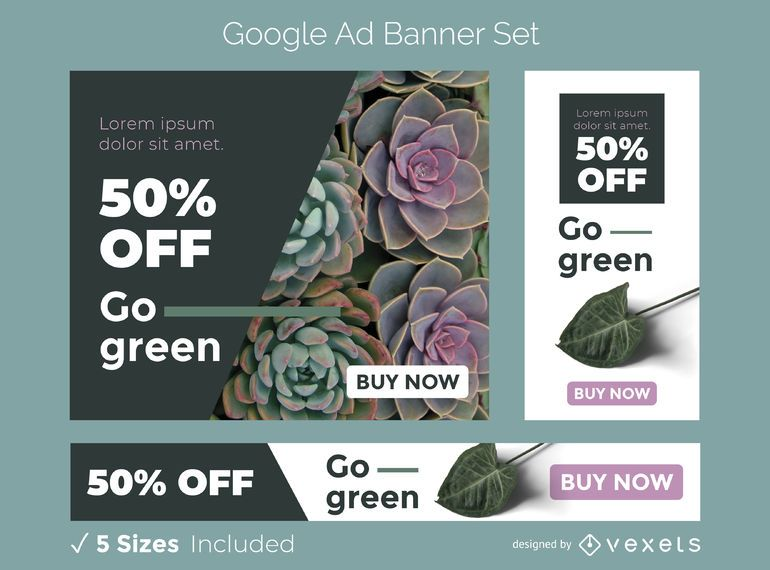 Vaya conjunto de banner de anuncio verde