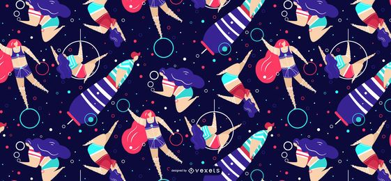 Circus people abstract pattern