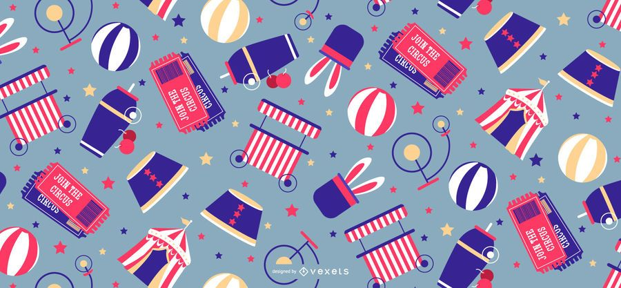 Circus elements pattern design