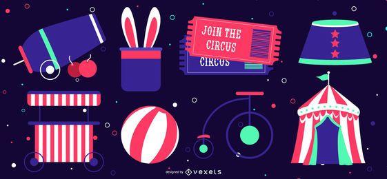 Circus elements neon set
