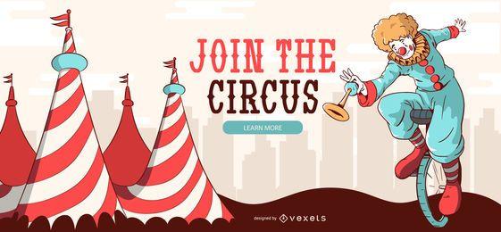 Banner editável de palhaço de circo
