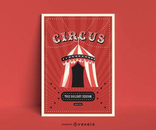 Diseño de cartel de carpa de circo.