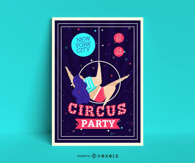 Circus party poster template