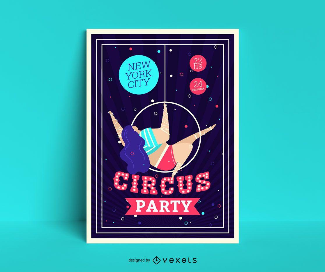 Plantilla de cartel de fiesta de circo