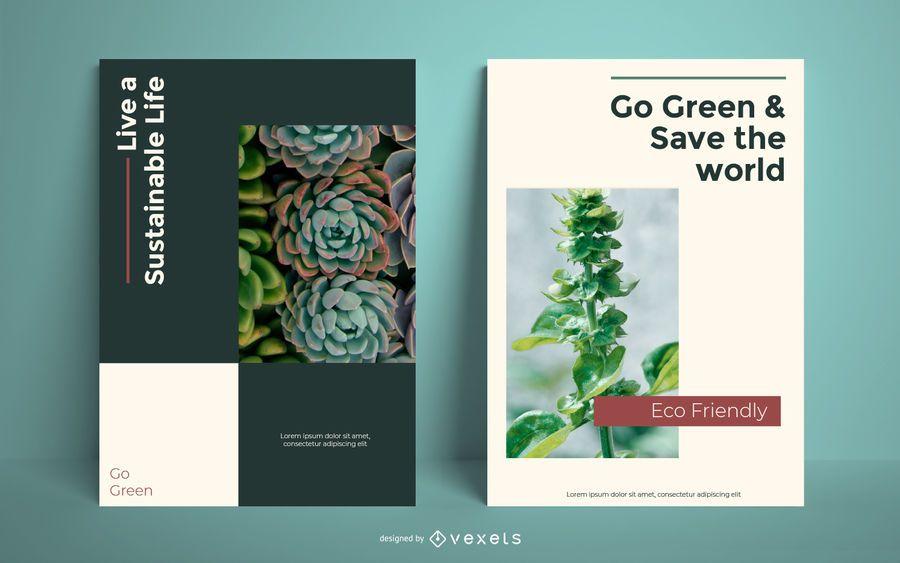 Gehen Sie grüne Plakatvorlage