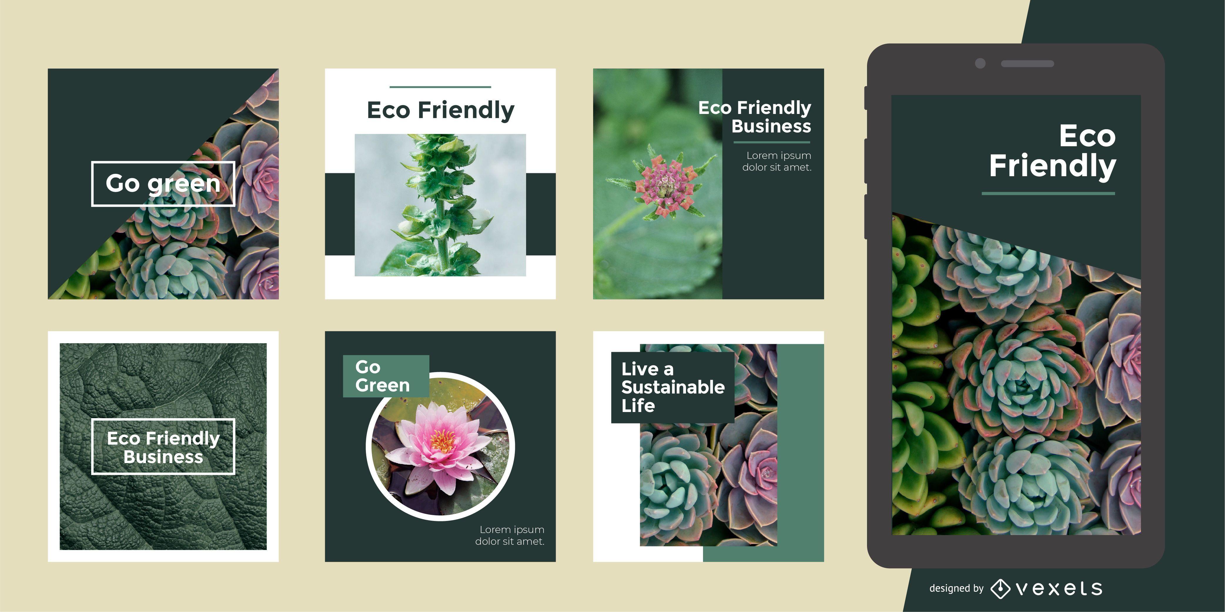 Plantilla de publicación social ecológica verde