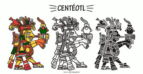 Aztec God Centéotl Illustration Set