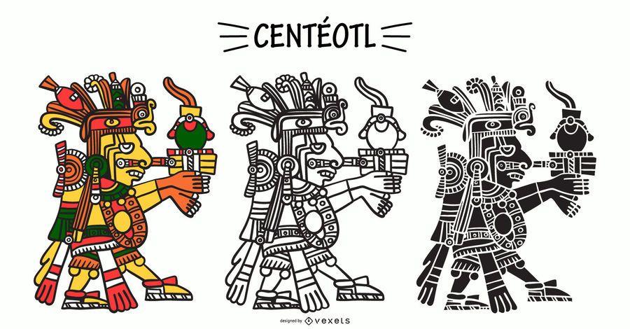 Aztec God Centéotl Illustration Set