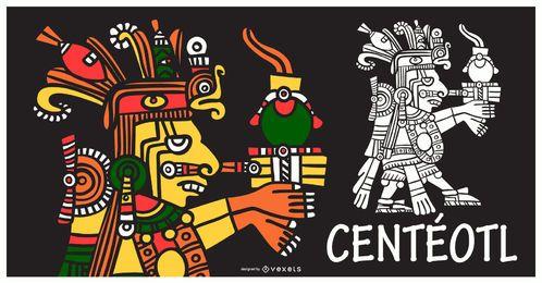 Diseño de ilustración de Dios azteca Centeotl