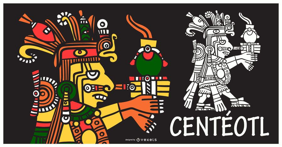 Centeotl Aztec God Illustration Design