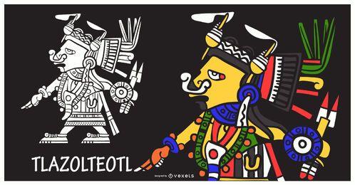 Ilustração de deus asteca tlazolteotl