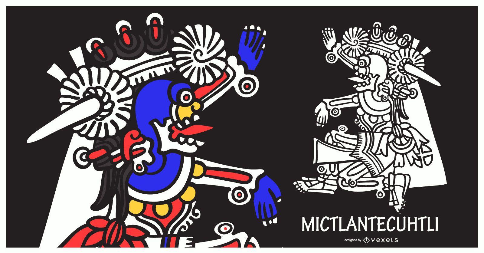 Ilustración de dios azteca mictlantecuhtli