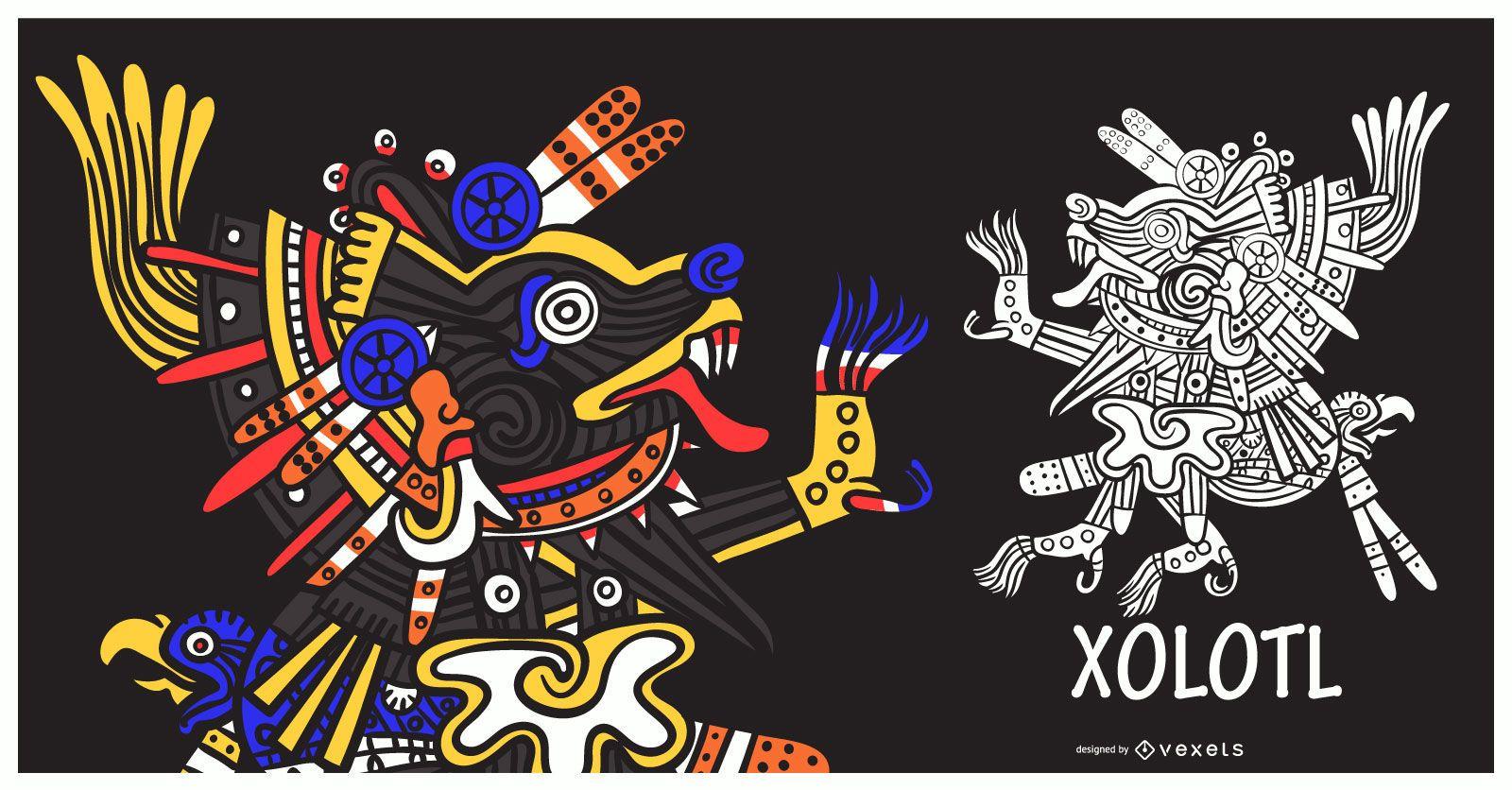 Aztec god xolotl illustration