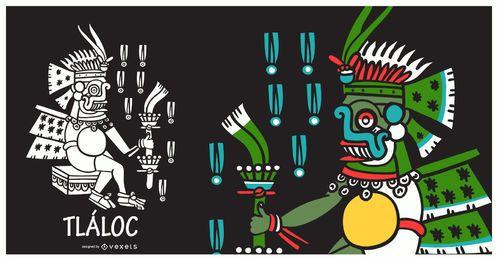 Ilustração de tlaloc de deus asteca