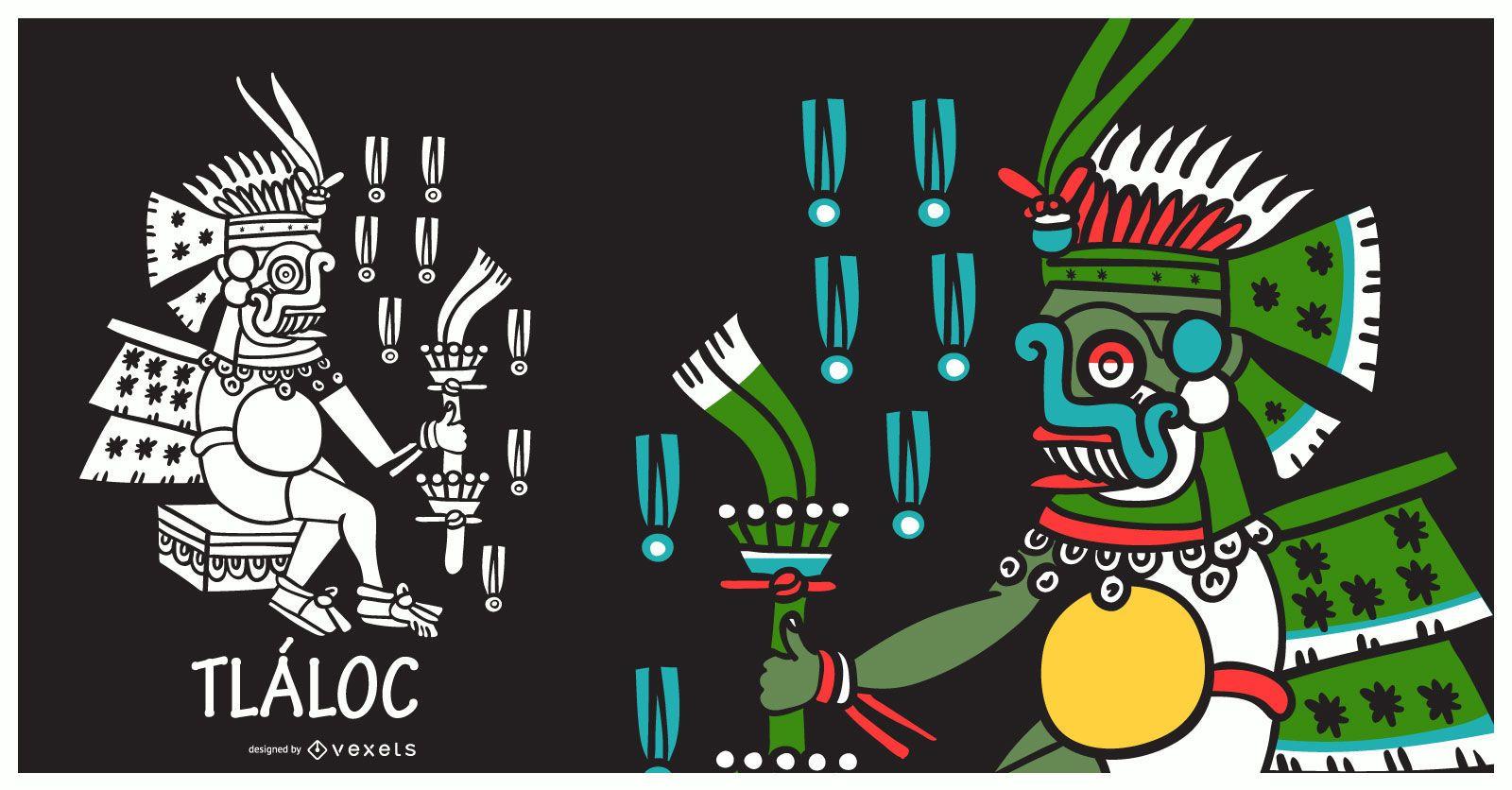 Ilustración de dios azteca tlaloc