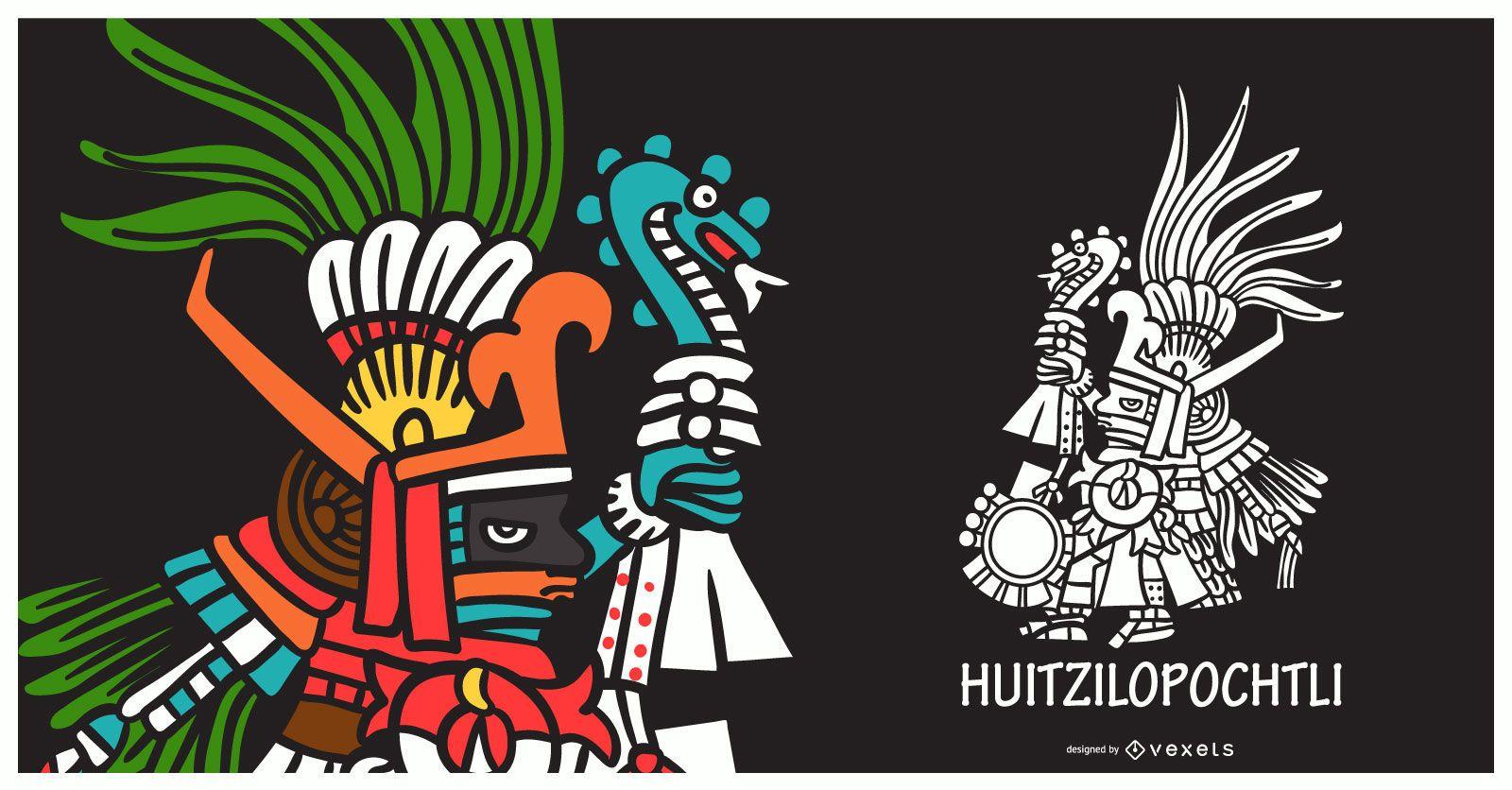 Aztec god huitzilopochtli illustration
