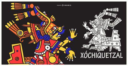 Ilustración de dios azteca xochiquetzal