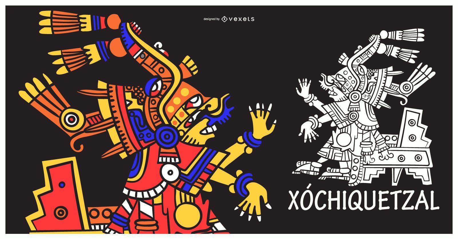 Aztec god xochiquetzal illustration