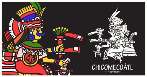 Ilustração de chicomecoatl de deus asteca