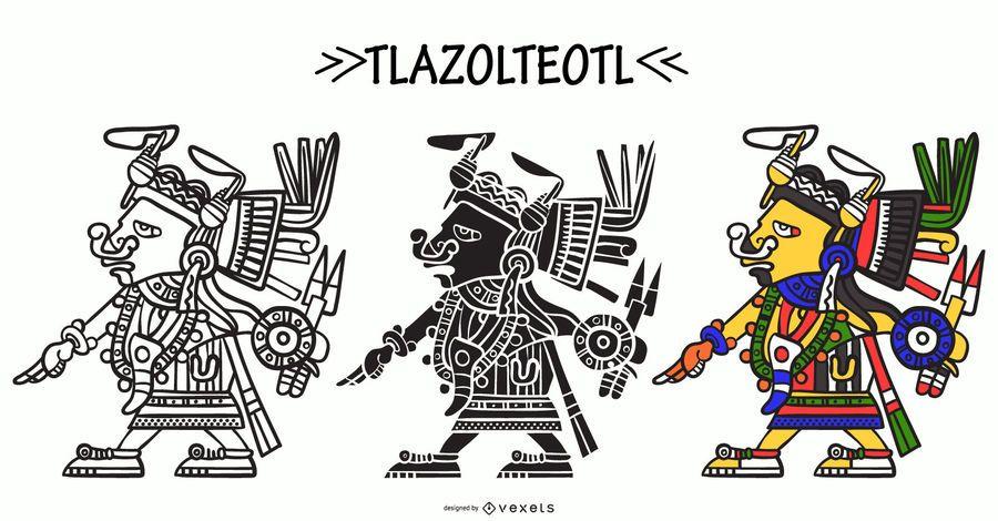 Tlazolteol aztec god vector set