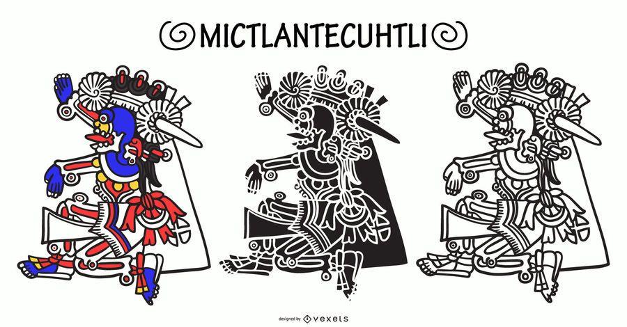 Mictlantecuhtli aztec god vector set