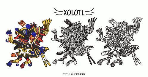 Conjunto de vector de dios azteca xolotl