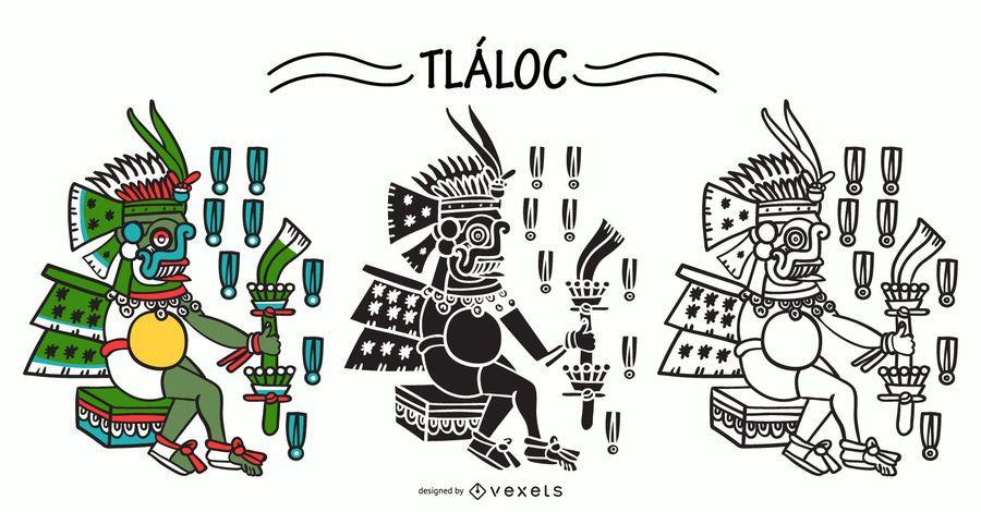 Tlaloc aztec god vector set