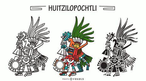 Conjunto de vector de dios azteca Huitzilopochtli