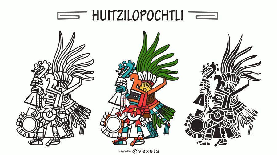 Huitzilopochtli aztec god vector set