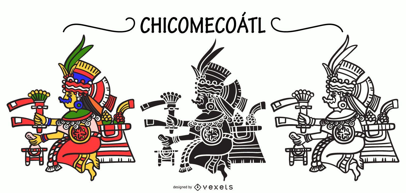 Chicomecoatl aztec god vector set