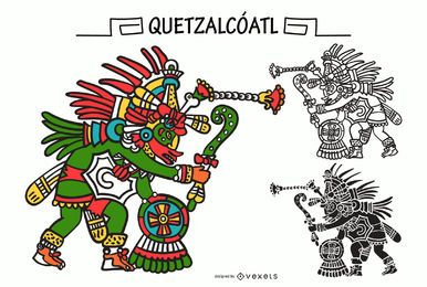 Quetzalcoatl aztec god vector set