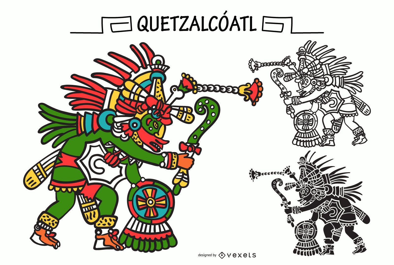 Quetzalcoatl aztec god vector set