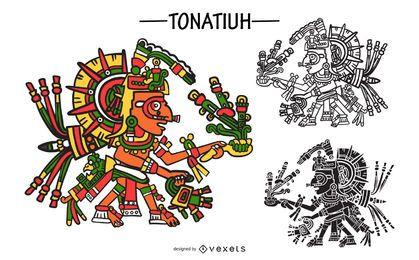 Tonatiuh aztec god vector set