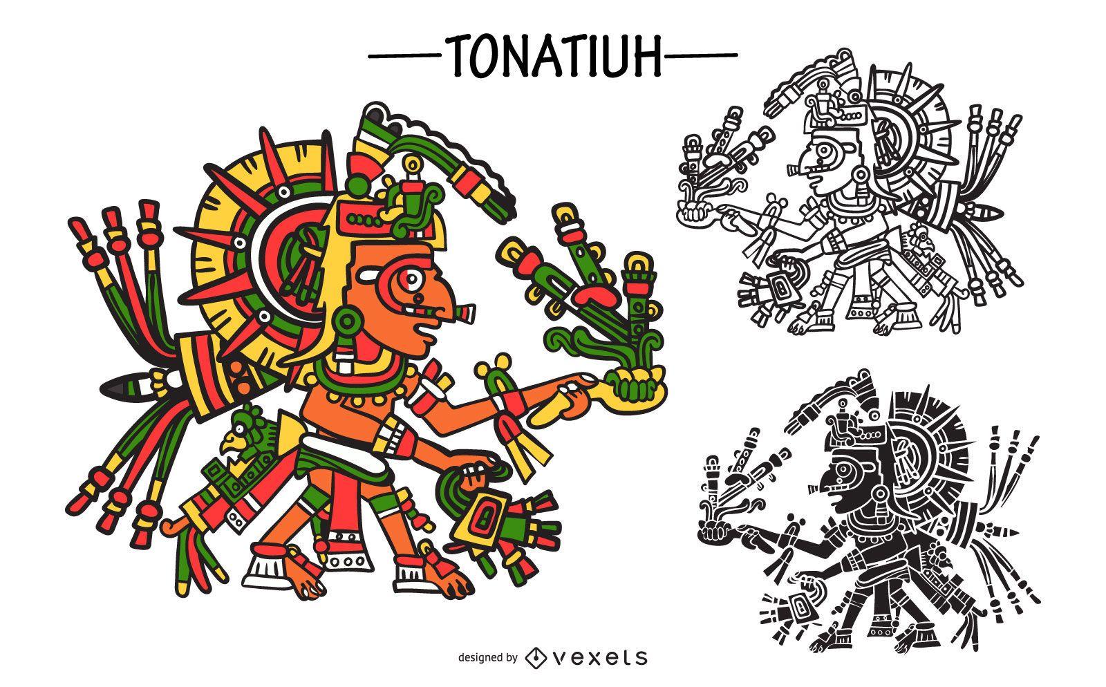 Conjunto de vectores de dios azteca tonatiuh