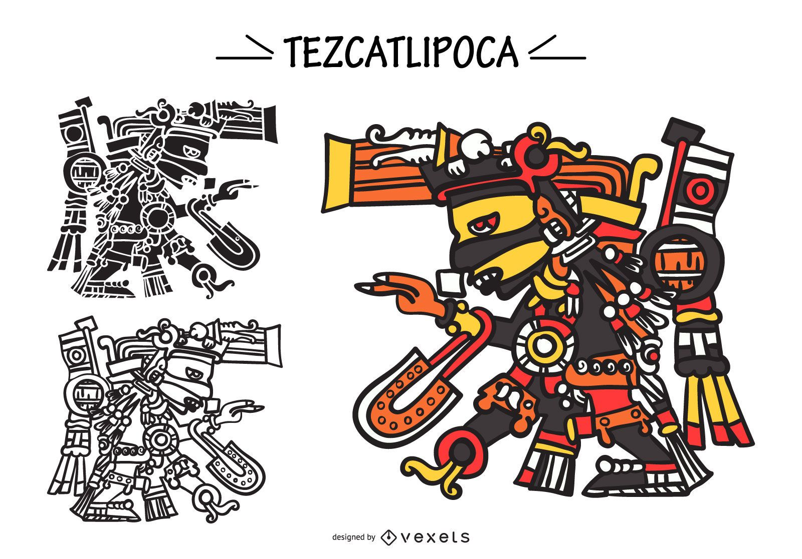 Tezcatlipoca aztec god vector set