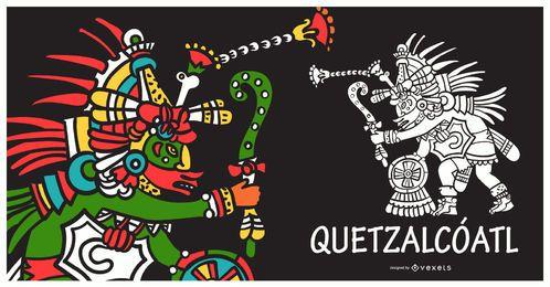 Ilustração de quetzalcoatl de deus asteca