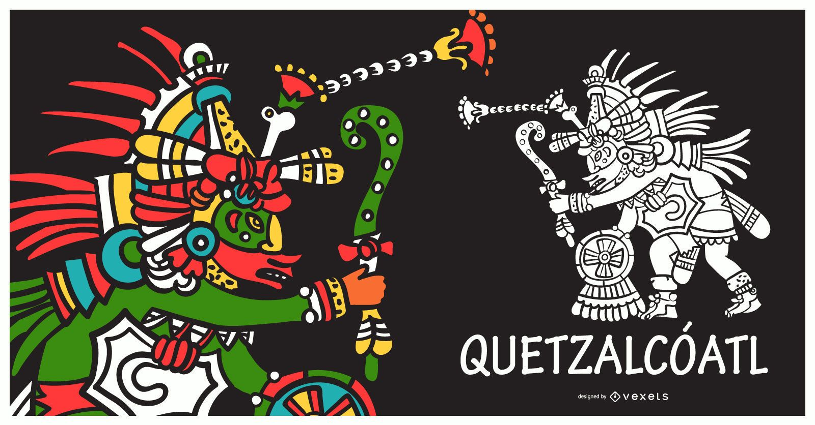 Ilustración de dios azteca quetzalcoatl