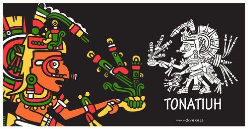 Ilustración de dios azteca tonatiuh