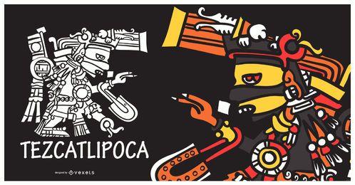 Ilustração de tezcatlipoca de deus asteca